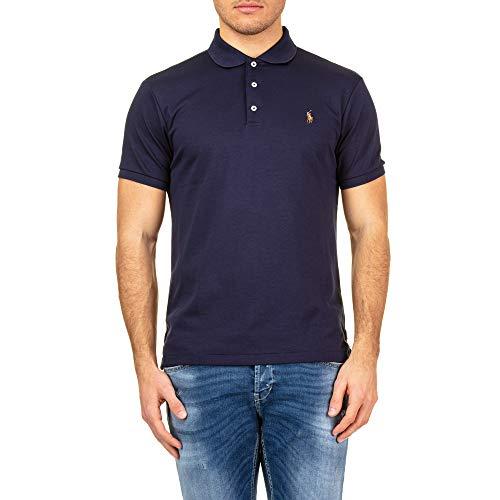 Polo Ralph Lauren Herren PIMA Polo-SSL-KNT Poloshirt, Blau (Navy 003), Small