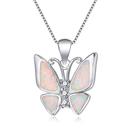 BJGCWY Collares Colgantes de Mariposa Grande de Lujo para Mujer, Collar de ópalo de Fuego Azul...