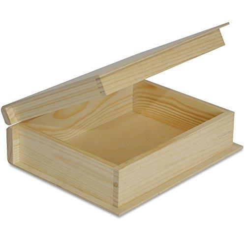 Creative Deco Buchbox Holzbox mit Deckel Holzkiste Kiste | 24 x 19 x 7,5 cm | Buch Box Schatulle | Ideal für Wertsachen, Spielzeuge und Werkzeuge