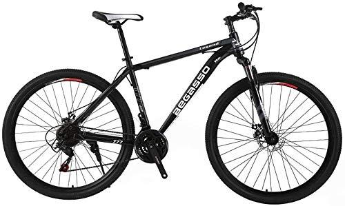 21-velocità a Doppio Disco Freno di Mountain Bike Uomo 29 Pollici all-Terrain City Bike Solo Adulti di Riciclaggio Esterno Rigido Coda Sospensione Anteriore (Color : Black)