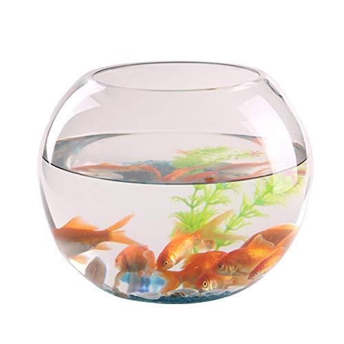 JNDM Creative - Tanque de pecera redondo de cristal transparente grande para escritorio engrosado, tanque de peces de oro, hidroponía para sala de estar, decoración del hogar, transparente moderno 30 cm azul