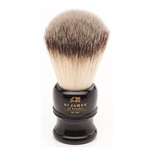 St James of London Large Faux Ebony Black Synthetic Shaving Brush