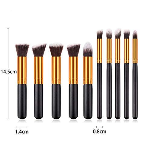 SUNWIND 10 Pcs Maquillage Pinceaux, Maquillage de Visage Portable Tool Kit Highlight Fard à paupières Fard à Joues Brosse Souple et Fibres synthétiques Cheveux poignée en Bois,Noir