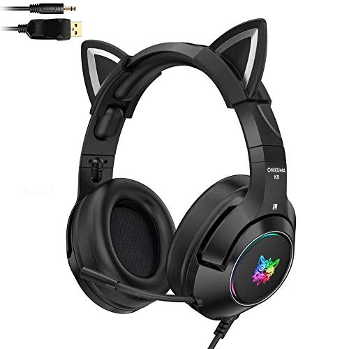 YOPU Gaming Headset ps4 with Retractable Mic K9 Demon Version Detachable Cat Ear Headphones for PS4, Xbox One, PC, Mobile Phone, 7.1 Stereo LED Light, Self-Adjusting Lightweight Over Ear Headphones