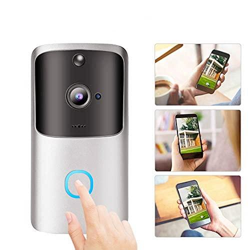 Timbre WiFi, Timbre inalámbrico WiFi, Timbre de Video inalámbrico Cámara Teléfono Cámara de Seguridad Intercomunicador Timbre para Timbre de Video Exterior/iOS