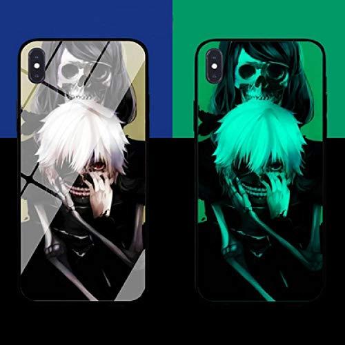 Resplandor Nocturno de Anime Estuche para Teléfono con Cordón Funda Protectora para iPhone Carcasa de Vidrio Templado Antifricción Tokyo Ghoul Serie Genial (Compatible con iPhone 8 Plus)