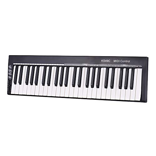 DJDKZQ 49-Key USB MIDI Keyboard Controller mit 16 Pads, 16 zuweisbare Knöpfe, 48 Tasten und 5-Pin MIDI Out Plus Production Software inklusive