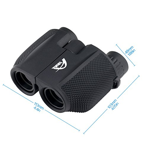Airke 10x25 Folding High Powered Binoculars with Weak Light Night Vision Clear Bird Watching Great for Outdoor Sports Games and Concerts