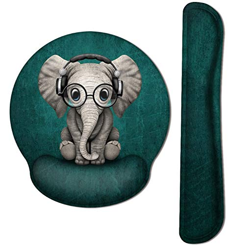 HAOCOO Keyboard Wrist Rest and Ergonomic Mouse Pad Wrist Support Set with Non-Slip Backing Memory Form-Filled, Easy-Typing and Pain Relief for Gaming Office Computer Laptop (Cute Elephant)