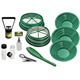 ASR Outdoor 11pc Gold Panning Kit Coarse Classifiers with Gold Pans, Sniffer Bottle, 2 Vials, Scoop, Magnifying Tweezers and Black Sand Magnet