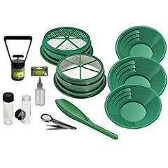 """Includes: 1/4"""" and 1/2"""" 304 Stainless Steel Mesh Classifier Material Screens Sniffer Bottle, 2 Vials, Scoop, Tweezers with Magnifier & Black Sand Magnet (3) Gold Pans; Sizes:14"""" 10"""" 8"""" 11 total pieces included in the Gold Mining and Prospecting Kit"""