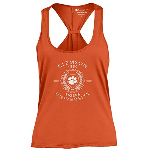 Champion NCAA WoMens Swing Silouette Racer Back Tank Top, Clemson Tigers, Small