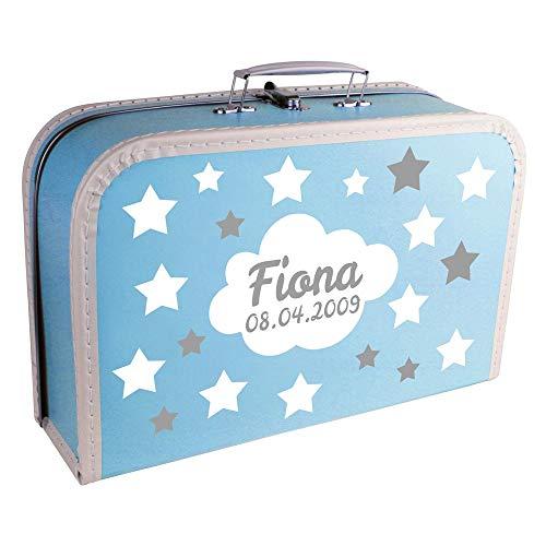 Baby Erinnerungsbox Koffer personalisiert mit Namen und Geburtsdatum Modell Sternenhimmel hellblau