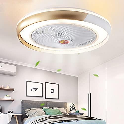 Ventilador De Techo 60W LED Lámpara Creative Regulable Ventilador De Techo Invisible Lámpara Luz De Techo Del Ventilador De Bajo Ruido Adecuado Para Sala De Estar Dormitorio Habitación Infantil,Oro