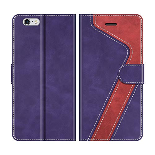 MOBESV Custodia iPhone 6S, Cover a Libro iPhone 6S, Custodia in Pelle iPhone 6S Magnetica Cover per iPhone 6S / iPhone 6, Viola/Rosso