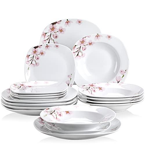 VEWEET Tafelservice 'Annie' aus Porzellan 18 teilig | Tellerset für 6 Personen | Mit je 6 Dessertteller, Tiefteller und Flachteller