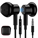 TITACUTE 3.5mm Earbuds, Noise Cancelling Headphones with Microphone Magnetic in-Ear Headphones Wired Stereo 3.5mm Jack Earphones for Google Pixel 4a 3a 5a Samsung S10 Plus S9 S8 A52 A51 A12 PS5 Black
