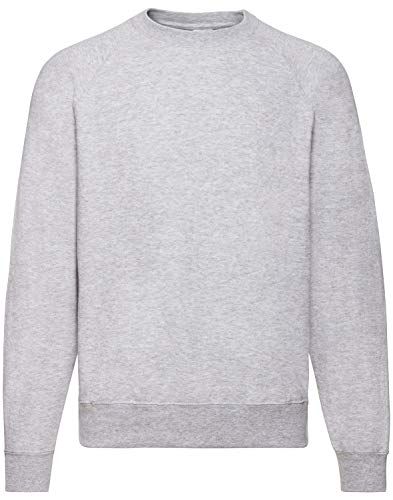 Fruit of the Loom Herren Raglan Pullover Gr. XL, grau meliert