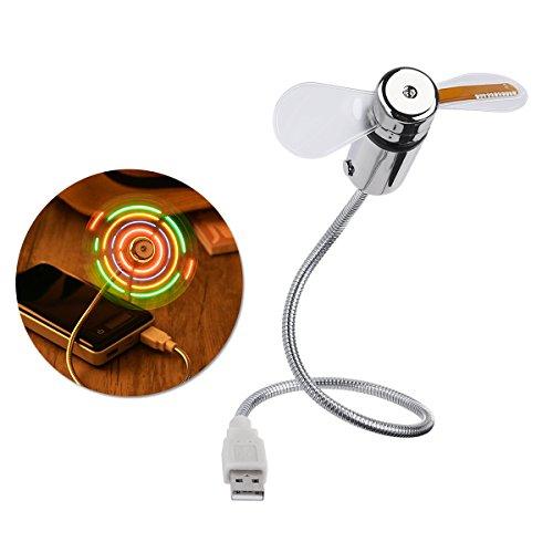 LEDMOMO Reloj ventilador USB LED portátil con alimentación USB y mini USB para ordenador portátil y PC