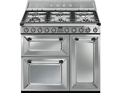 Smeg TR93X Independiente Encimera de gas A Acero inoxidable - Cocina (Cocina independiente, Acero inoxidable, Giratorio, Frente, Encimera de gas, esmalte de acero)