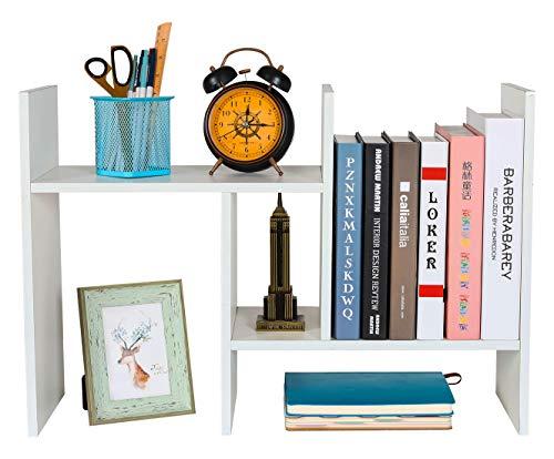 EasyPAG Kleines Schreibtischregal aus Holz, verstellbar, Mini-Bücherregal, freistehend, für Zuhause und Büro, weiß