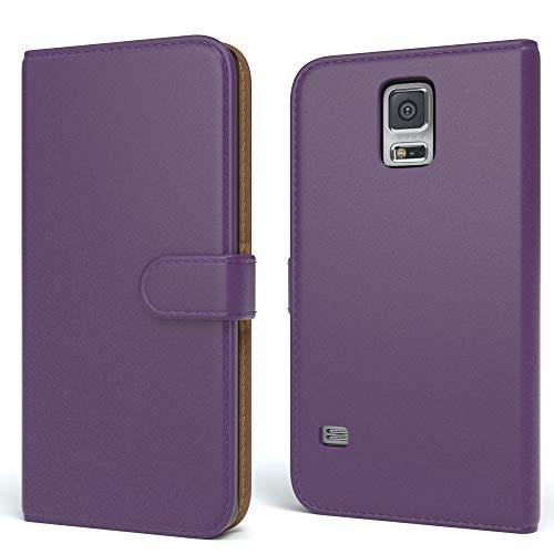 EAZY CASE Tasche kompatibel mit Samsung Galaxy S5/LTE+/Duos/Neo Schutzhülle mit Standfunktion Klapphülle Bookstyle, Handytasche Handyhülle mit Magnetverschluss & Kartenfach, Kunstleder, Lila