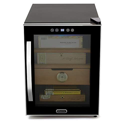 Whynter CHC-122BD Elite Touch Control Stainless Cigar Cooler, Black Humidor, One Size, (Renewed)