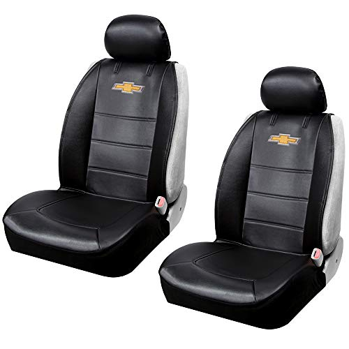 Plasticolor 008599R01 One Pair Seat Covers Logo Premium 3 Piece Sideless Car Truck or SUV Seatcover with Cargo Pocket Compatible with Chevrolet