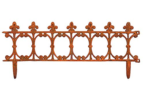 aubaho Beetstecker Zaun Beeteinfassung Antik-Stil Eisen rostig 83x34cm