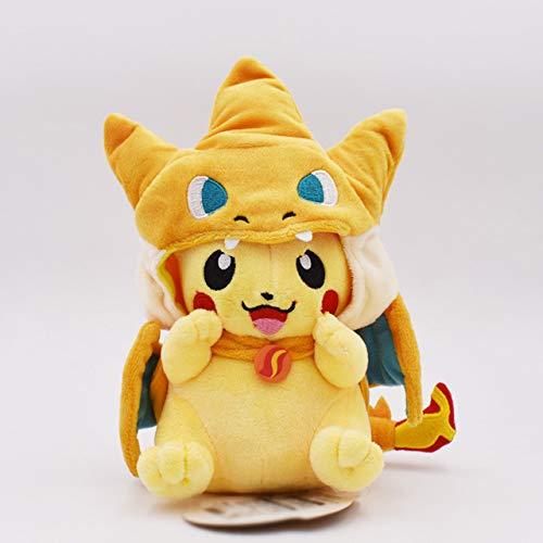 Decanyue 18-22cm Cartoon Pikachu Cosplay Charizard Peluches Anime Peluche Muñecas de Peluche de Regalo para niños 18-22cm Abierto