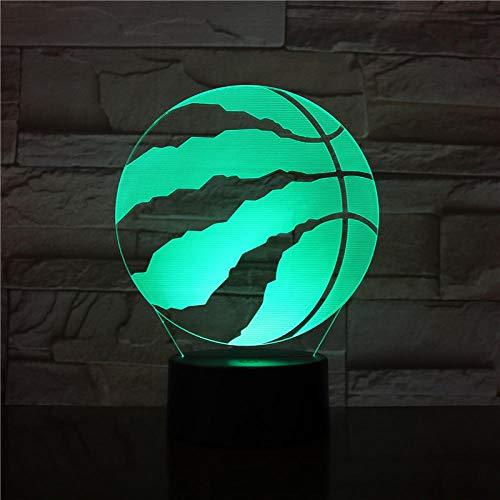 Lampara 3D LED en forma de pelota de baloncesto, escultura de arte nocturna, 7 colores, ilusión USB, lámpara de escritorio como decoración del hogar