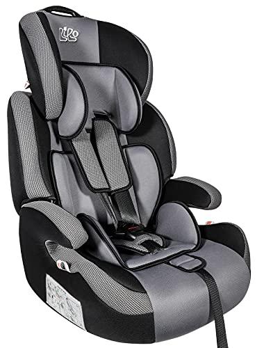 Bibo 1607519 Seggiolino Auto Magellano Isofix per Bambini 9-36 kg-Gruppo 1/2/3 (da 1 a 12 Anni) omologato ECE R44/04, Nero/Grigio
