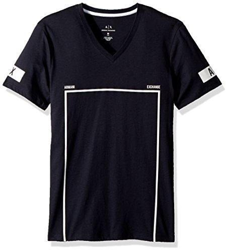 Armani Exchange A|X Herren Soccer Graphic Tee T-Shirt, Navy, Klein