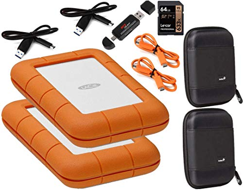 Lacie 2 Pack Rugged 2TB USB-C (USB 3.1) External Hard Drives Compatible with Mac and PC - Water and Drop Resistance with Compact Pocket Cases and a Free 64GB SD Card and Card Reader/Writer