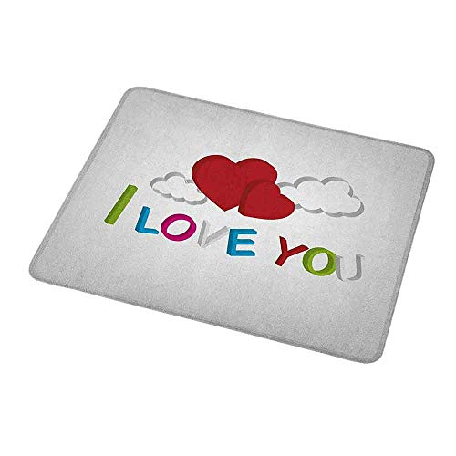 Gaming Mouse Pad Ich liebe dich, 3D Buchstaben Wolken und Herzen Romantische Nachricht Happy Feelings, Lime Green Blue Magenta Ruby für Laptops