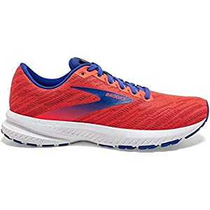Brooks Womens Launch 7 Running Shoe - Coral/Claret/Blue - B - 8.5