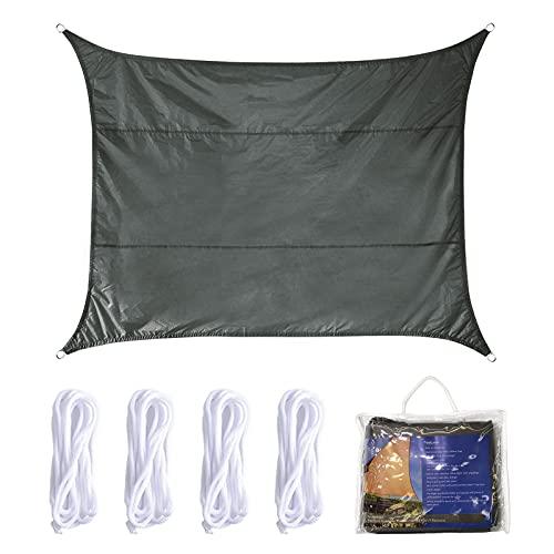 Vela de Sombra 4x5m Rectangular Toldo Vela Impermeable Protección Solar Rayos UV para Jardín Patio Terraza Balcón Exteriores Bolsa Almacenamiento Cuerdas Todo Incluído (4 * 5, Gris)