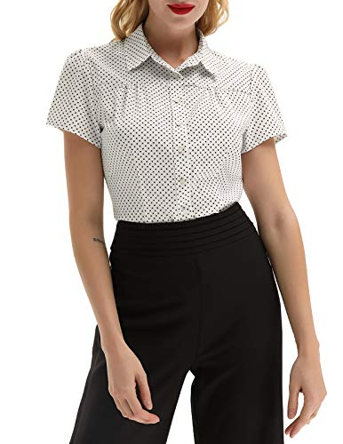 Women Polka Dots Shirt Short Sleeve Button Down Shirt Tops, Off-White, Large