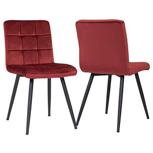 Esszimmerstuhl aus Stoff Samt Farbauswahl Stuhl Retro Design Polsterstuhl mit Rückenlehne Metallbeine Duhome 8043B, Farbe:Rot, Material:Samt