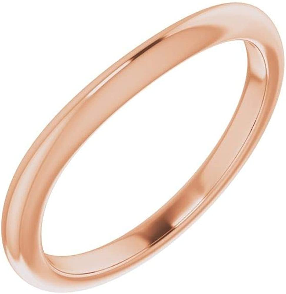 Solid 10K Rose Gold Curved Notched Wedding Band for 11mm Cushion Ring Guard Enhancer - Size 7