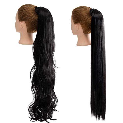 2 Stück 30 Zoll lange schwarze gerade und Wellig Pferdeschwanzhalter Haarverlängerung Wrap Around Pferdeschwanzverlängerungen Synthetische Clip In Pferdeschwanz Haarverlängerungen Haarteil für Frauen