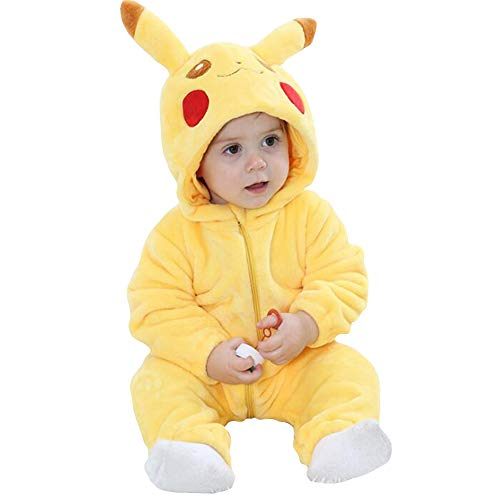 Bebé Invierno Peleles Infantil Mameluco Recién Nacido Monos Niños Abrigo Ropa Una Pieza Pijamas Niñas Trajes Disfraces (Pikachu, 90cm)