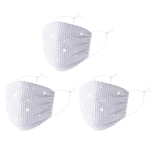 Supertong Unisex Einstellbar Mundschutz Mode Strass Mundbedeckung Waschbar Wiederverwendbar Gesichtsschutz Outdoor Staubdicht Winddicht Radfahren Motorrad Face Shield (Weiß-3PC)