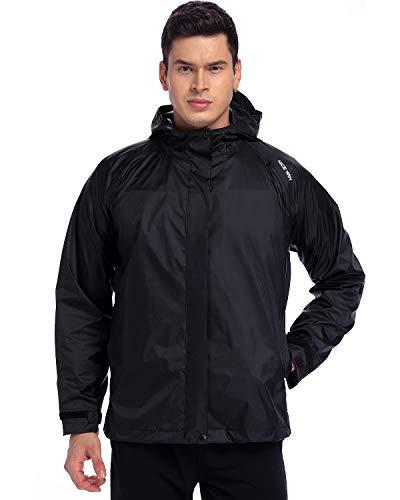 NICE WIN Tragbarer Front Zip Regenjacke-Taschenformat Atmungsaktiver Kapuzenpullover Regenmantel Poncho für Männer und Frauen, Schwärzen, L