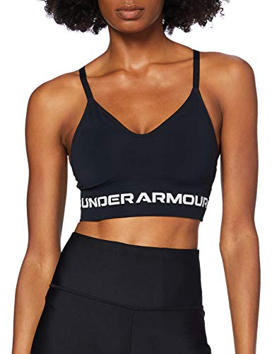 Under Armour Women's Seamless Low Long Bra , Black (001)/Halo Gray , Medium