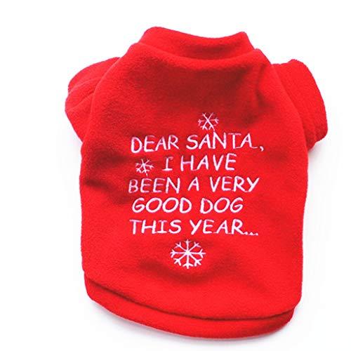 Watonic Costumes Pet Dog Winter Christmas Print Plush Clothes Pet Dog Long Sleeve Top,Dog Cold Weather Coats (PinkBack Length 14.17')