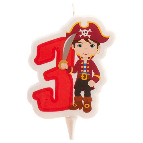 Dekora - Vela de Cumpleaños 2D de Pirata para Tartas Infantiles - Numero 3