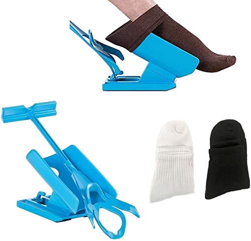 Dkina Strumpfanzieher Socken Anziehhilfe,Sock Slider Sockenhilfe Aid Helper Socken Anziehhilfe und Ausziehhilfe mit 2 Paar Socken,Strumpfanziehhilfe easy on/off Socke Anziehen und Ausziehen Werkzeuge