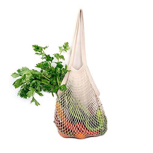 Bolsa de la compra reutilizable | Bolsa de malla de asa larga | Bolsa reutilizable de algodón orgánico