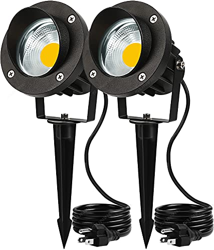 SUNVIE 20W Outdoor Spotlight LED Landscape Lighting 120V AC Waterproof Yard Spot Lights Outdoor with Stake for Tree Flag Lights 3000K Ultra Warm White Lawn Decorative Lamp with US 3-Plug in(2 Pack)